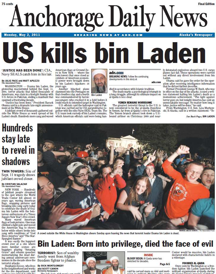Anchorage Daily News front page, 2 May 2011: US kills bin Laden